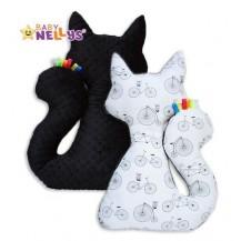 Edukační hračka KOČKA s minky Baby Nellys ® - kola,černá minky Baby Nellys