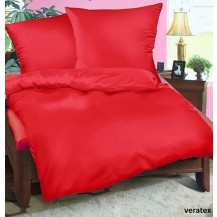 Luxusní francouzské saténové povlečení Traventina červené 2x70x90 + 240x200cm Veratex