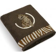 Froté ručník s výšivkou Leopard 500g 50x100 cm (tmavě hnědý)
