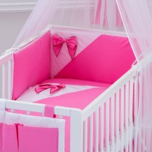 Mantinel do postýlky rovný - Mašle - růžový Baby Nellys