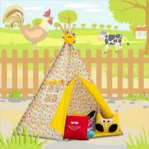 Stan pro děti TIPI + podložka a 2 polštářky - Veselé včerlky, žlutá Baby Nellys