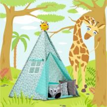 Stan pro děti TIPI + podložka a 2 polštářky - Zvířátka a hvězdičky mátové Baby Nellys