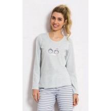 Dámské pyžamo dlouhé Tučňáci - šedá L Vienetta