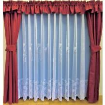 Záclona kusová - Chrpy 150x400 cm (bílá)