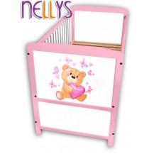 Dřevěná postýlka Nellys růžová s Míšou NELLYS