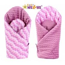 Luxusní zavinovačka MINKY BABY - oboustranná Paví péra růžová Baby Nellys