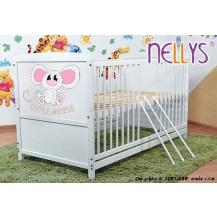 Dřevěná postýlka 2 v 1 Nellys LITTLE MOUSE - bílá/bílá NELLYS