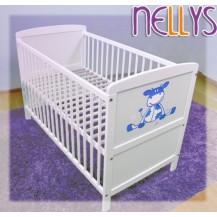 Dřevěná postýlka Nellys bílá - Kravička modrá NELLYS