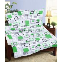 Prodloužené povlečení flanel 140x220, 70x90 Labyrint zelený Brotex
