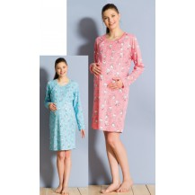 Dámská noční košile mateřská dlouhý rukáv Malí méďové - lososová L Vienetta