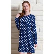 Dámská noční košile s dlouhým rukávem Puntíky - modrá S Vienetta