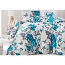 Povlečení francouzské bavlna 220x200,70x90 Neva modrá, Výběr zapínání: zipový uzávěr