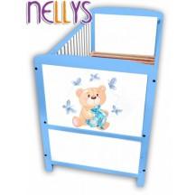 Dřevěná postýlka Nellys modrá s Míšou NELLYS