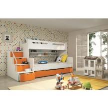 Dětská patrová postel Maty oranžová - doprava zdarma