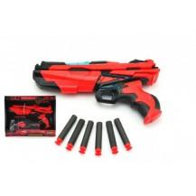 Pistole na pěnové náboje 6ks plast 28cm se světlem a zvukem na baterie v krabici
