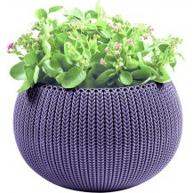 COZIES KNIT - M - květináč - tmavě fialová