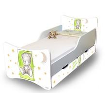 Dětská postel NELLYS Sweet TEDDY s šuplíky - zelený