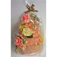 Textilní dort třípatrový - lososovo/ béžový s vyšitými jmény