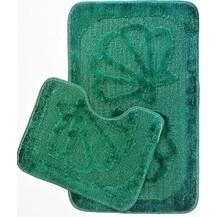 Koupelnová předložka 2-dílný set (tmavě zelená mušle)