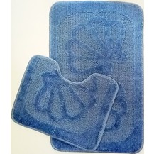 Koupelnová předložka 2-dílný set (středně modré mušle)