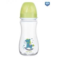Antikoliková lahvička se širokým hrdlem Canpol Babies Easy Start - TOYS 300 ml - zelená