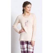 Dámské pyžamo dlouhé Méďa s čepicí