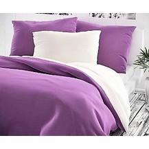 Bavlněné povlečení francie  2x70x90 + 220x200 cm fialové/bílé