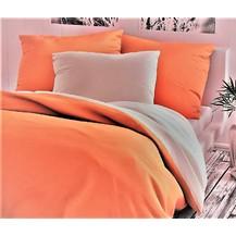 Bavlněné povlečení francie  2x70x90 + 220x200 cm oranžovo/bílé