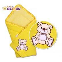 Zavinovačka TEDDY BEAR Baby Nellys - velur - žlutá