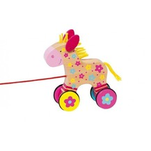 Edukační dřevěná hračka 15 cm tahací - Koníček Klára