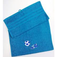 Osuška fotbal  70x140 azurově modrá