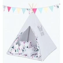 Stan pro děti teepee, týpí bez výbavy - šedý / barevné pírko