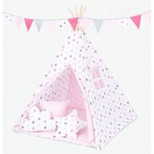 Stan pro děti teepee, týpí bez výbavy - hvězdy šedé a růžové / světle růžový