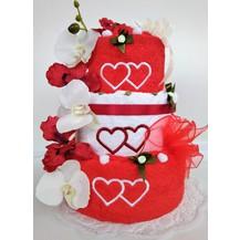 Textilní dort třípatrový vyšitá srdíčka (1ks osuška 2ks ručník)