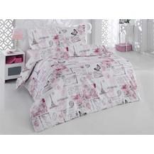 Povlečení francouzské bavlna 220x220, 70x90 Paris růžová, Výběr zapínání: nitěný knoflík