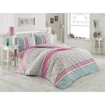 Povlečení francouzské bavlna 200x200,70x90 Mija růžová, Výběr zapínání: nitěný knoflík