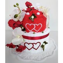 Textilní dort dvoupatrový vyšitá srdíčka 2ks ručník
