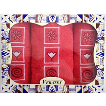 Dárkově balené vyšívané ručníky s osuškou (18-červená)