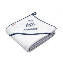 Dětská termoosuška Little princess s kapucí, 80 x 80 cm - bílá, šedá výšivka
