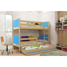 Patrová postel s přistýlkou Tamita borovice/modrá