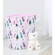 Box na hračky - oboustranný, růžové peří / růžový