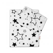 2-dílné bavlněné povlečení - Černé hvězdy a hvězdičky - bílý