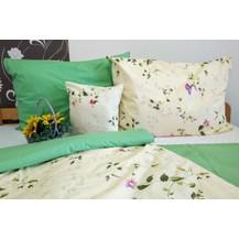 Bavlněný povlak na polštářek 35x45cm sv.žlutý květ/zelinkavá