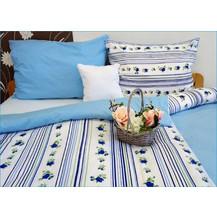 Bavlněný povlak na polštářek 35x45cm modré květy/modrá