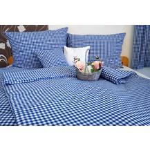 Bavlněný povlak na polštář LUX 70x90 cm kanafas modré srdíčko