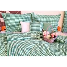 Bavlněné povlečení prodloužené LUX 70x90 + 140x220 cm kanafas zelené srdíčko