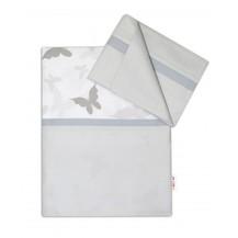 2-dílné bavlněné povlečení Motýlci - šedé/šedá