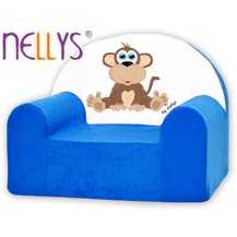 Dětské křeslo Nellys - Opička Nellys modrá