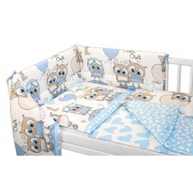 3-dílná sada mantinel s povlečením 135x100, Cute Owls - modrá
