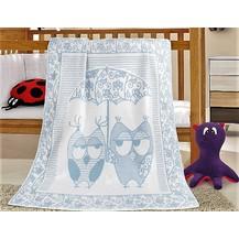 Dětská bavlněná deka 100x140 cm sova modrá